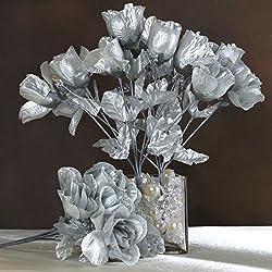 BalsaCircle 84 Silver Silk Rose Buds - 12 Bushes - Artificial Flowers Wedding Party Centerpieces Arrangements Bouquets