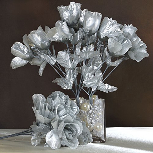 Efavormart 84 Artificial Buds Roses Wedding Flowers Bouquets SALE - Silver (Fake Silver Flowers)