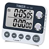Digital Kitchen Timer Magnetic Back,Cooking Timer,Large Display Loud Alarm Count-Up & Count Down for Cooking Baking Sports Games Office,Volume Adjustable,ON/OFF Switch,Battery Including (Dual Timer)