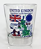 United Kingdom England EU Series Landmarks and Icons Collage Shot Glass