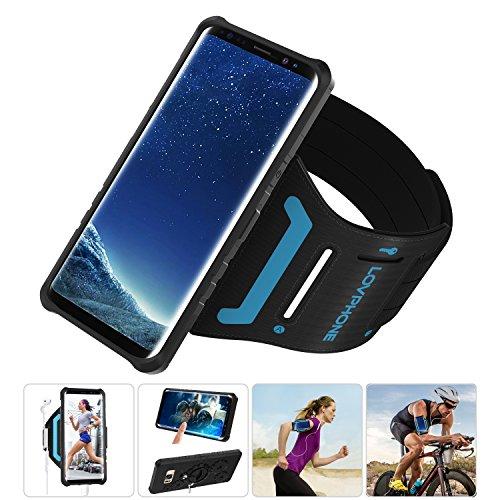 LOVPHONE Samsung Galaxy S8/S9 Armband & Armour Case Set with QuickMount Sport Running Armband + Premium Protective Case with Kickstand for Galaxy S8/S9,Soft Elastic Strap with Key Holder(Black)-L