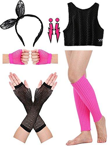 Women Rocker Mesh Top 1980s Costume Accessories (Adult 80s Mesh)