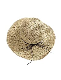 BOW Womens Foldable Straw Hat Floppy Hat Sun Hat Summer Beach Hat Topee for Girls