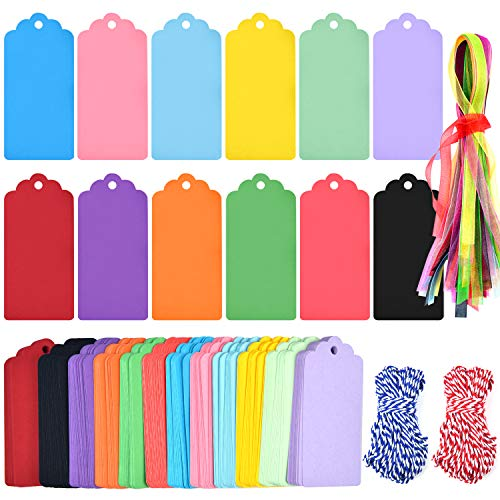 Coopay 250 Pcs 12 Colors Gift Tags Sign with String Party Favor Paper Tags Escort Cards Wishing Tree Tags Name Place Cards Hanging Sign Tags Price Tags Labels Treats Tags Scrapbook Cards with Hole