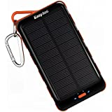 EasyAcc Classic 15000mAh Solar Panel Power Bank with Flashlight External Battery Portable Charger for iPhone Samsung Smartphones Tablets Bluetooth Speaker - Black and Orange