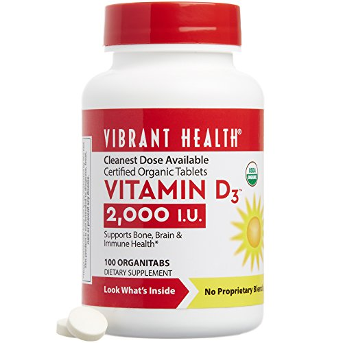 Vibrant Health - Vitamin D3 2000 i.u., Certified Organic Tablets, 100 Count