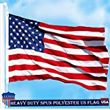 G128 – American Flag | 5×8 feet | Heavy Duty Spun Polyester 220GSM – Embroidered Stars, Sewn Stripes, Tough, Durable, Indoor/Outdoor, Vibrant Colors, Brass Grommets, Premium US USA Flag