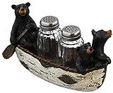 3 Black Bears Canoeing Salt & Pepper Set - Rustic Cabin Canoe Cub Decor