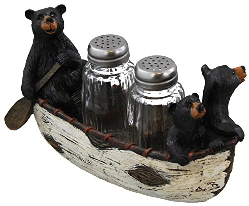 3 Black Bears Canoeing Salt & Pepper Set - Rustic Cabin Canoe Cub Decor - Bear Canoe