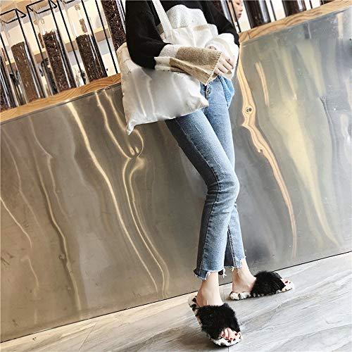 Bout Plates Hiver Femme Femme À Maintien Au Chaussure Rond Léopard 2018 Hiver Imprimé Nouveau Automne Chaud Noir Pour Chaussures Chic Pw6g0fq