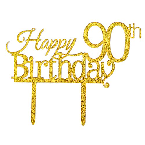 Glitter Gold Acrylic Happy 90th Birthday Cake Topper, 90 Birthday Party Cupcake Topper Decoration (90, gold) ()