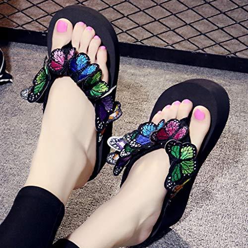 D'été À Jardin Été Noir Femme Boho Sandales Chaussons Respirant Talons Piscine Mode Pantoufles Tongs 37 Casual Plage Compensees wt6gpAq