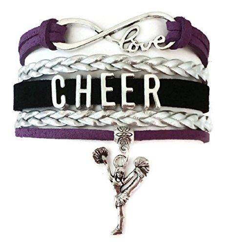 Cheer bracelet, Cheerleading bracelet, love infinity bracelet, sports bracelet, leather bracelet (Purple, silver and black)
