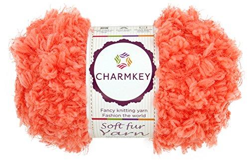 Charmkey Soft Fur Yarn Super Fluffy 5 Chunky 12 Ply Knitting Eyelash Yarn - Fur Yarn