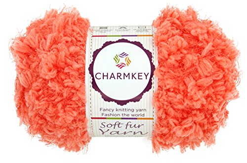 Charmkey Soft Fur Yarn Super Fluffy 5 Chunky 12 Ply Knitting Eyelash Yarn