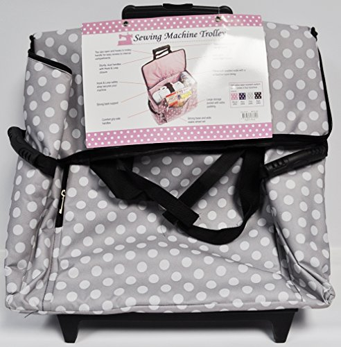 Sewing Machine Trolley Gray and White Polka Dot