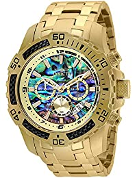 Men's 50mm Pro Diver Scuba Quartz Chronograph Carbon Fiber Bezel Abalone Dial Bracelet Watch