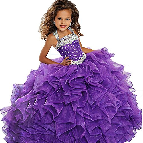 Jinjia Little Girls Crystals Beauty Pageant Dresses Floor Length Ball Gowns 12 US Purple