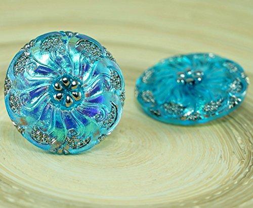 1pc Turquoise Blue AB Silver Flower Handmade Czech Glass Button Size 12, 27mm