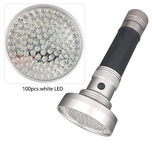 100 LED Aluminum Flashlight (Silver/Black) by Bigsavings1234 (Image #5)