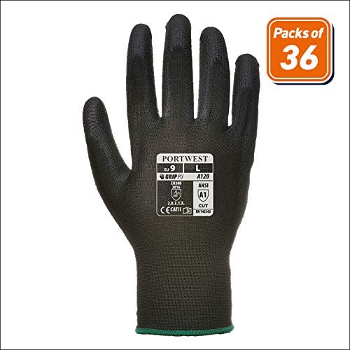 2XL Work Gloves PU Coated General Purpose Portwest A120 ORANGE Size XS