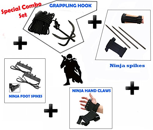 Ninja Throwing Spike (NINJA Special Combo Grappling Hook,Hand claws,Foot Spike, & KUNAI SPIKES THROWING KNIFE)