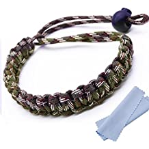 Maveek Camera Wrist Strap Braided 550 Paracord Lanyard Parachute Cord Adjustable Wristband Bracelet Hand Grip Strap for Video Camcorder, Binoculars and Digital Camera - Army green camouflage