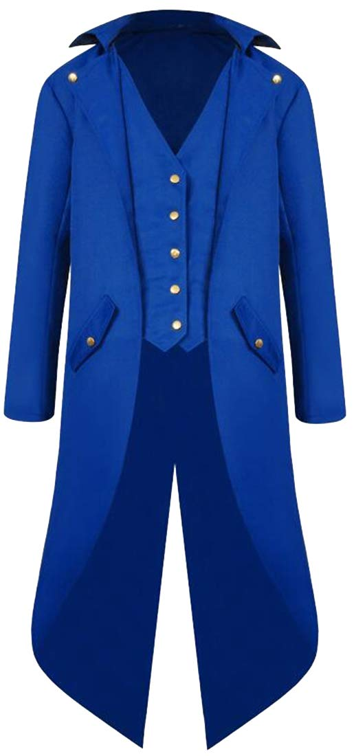 ARTFFEL Men's Single Breasted Wedding Party Tailcoat Tuxedo Punk The Medieval Times Trench Coat Jacket Outerwear Blue XXL