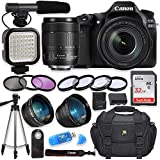 Canon EOS 80D Digital SLR Camera with Canon EF-S 18-135mm f/3.5-5.6 is USM Lens + Video LED Light + Shotgun Microphone + Sandisk 32GB SDHC Memory Card, Camera Bag (Complete Video Bundle)