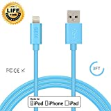 iphone 5 blue charger - Apple MFi Certified, Gembonics 8 Pin Lightning to USB Cable 3ft Sync & Charger for iPhone X, 8 8Plus, 7 7 Plus, 6 6Plus, 5s, 5c, 5, iPad Air, Mini, iPod touch (Blue)