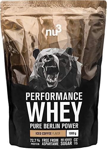 nu3 Performance Whey Protein - 1 kg de suero en polvo sabor café helado con 72.7% de proteína - Con aminoácidos BCAAs + proteína aislada isolate - ...