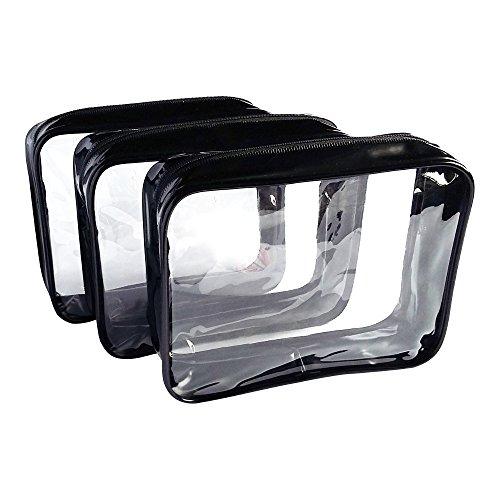 3-Pack Clear Vinyl Cosmetic Bag - Black