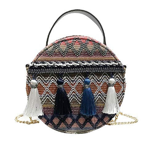 IslandseWomen Ins Super fire National Wind Portable Chain Small Round Bag Tassel Packet (Blue)