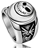 Mens Stainless Steel Finger Rings Retro Roman Letters Ghost Head Size 9 - Adisaer Jewelry offers
