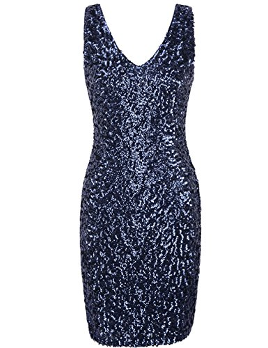 PrettyGuide Women Sexy Deep V Neck Sequin Glitter Bodycon Stretchy Mini Party Dress L Navy
