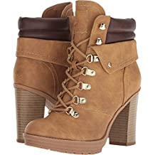 G by GUESS Women's Genja Heeled Lace Up Hiker Booties
