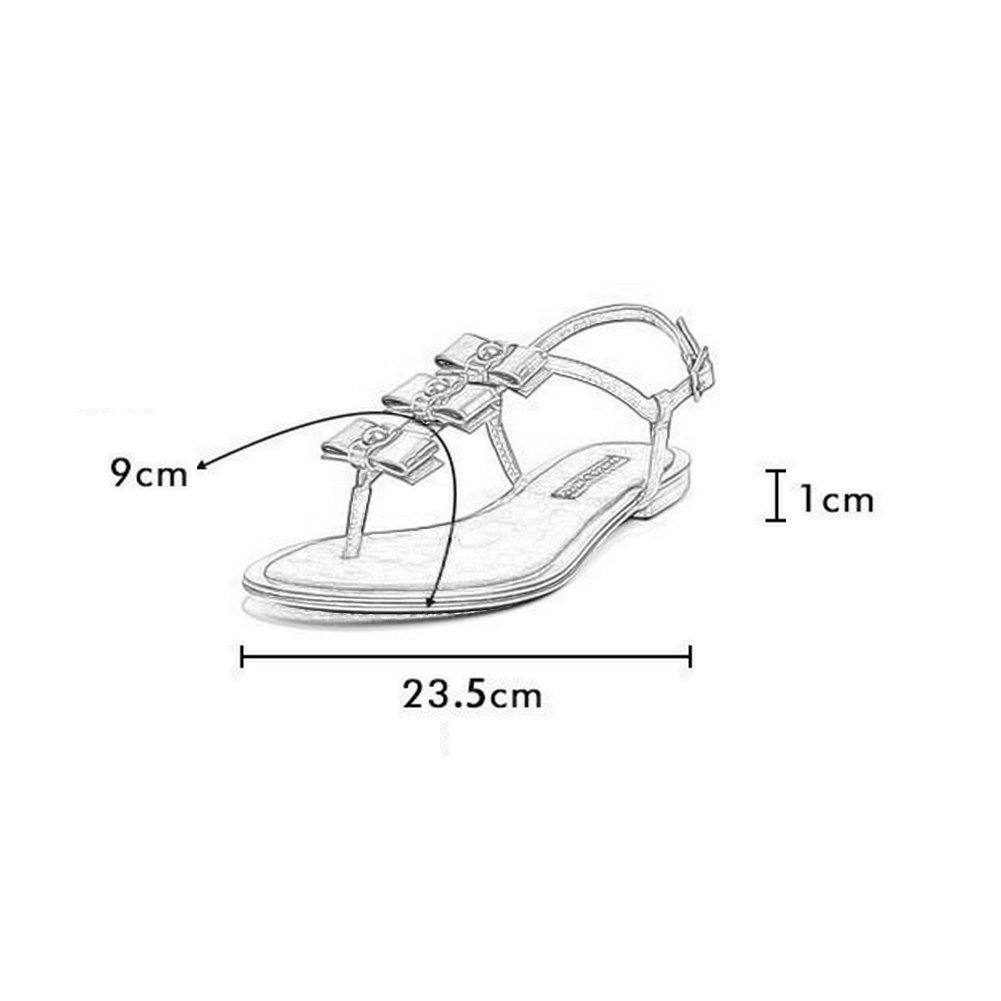 WYYY Damen Sommer Schmetterlingsknoten Zehentrenner Sandalen Elastische Beach Flip Flops Flache Elastische Sandalen T-Strap Post Thong Sandalen Schuhe 577316