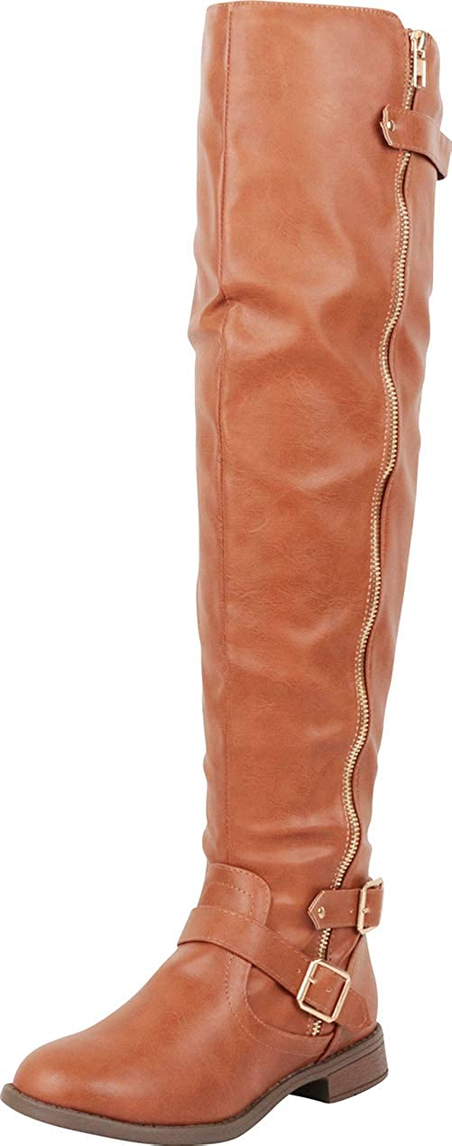 Tan Pu Cambridge Select Women's Thigh-High Strappy Buckle Riding Over The Knee Boot