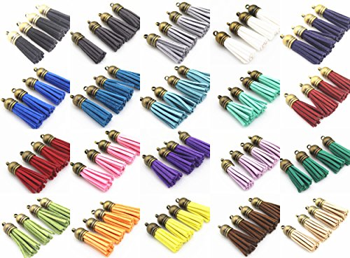 QIANHAILIZZ Mixed Color Faux Suede Tassel Leather Charm with CCB Cap for Keychain Cellphone Straps Jewelry Charms (100 Antique Bronze Tassel of 1-1/2inch)