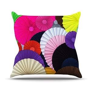 "Kess InHouse Heidi Jennings ""Madness"" Rainbow Circle Outdoor Throw Pillow, 18 by 18-Inch"