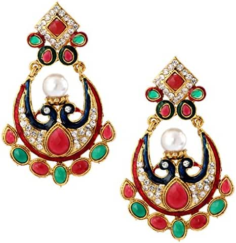 The Jewelbox Ethnic Traditional Bollywood Peacock 22K Red Blue Green Pearl CZ Dangling Earring