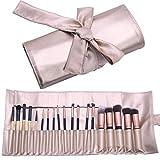 Makeup Brush Organizer Rolling Bag Cosmetic Case PU Leather Brush Holder Travel Portable 18 Slots Makeup Artist Storage Handbag ...