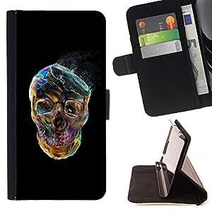 Momo Phone Case / Flip Funda de Cuero Case Cover - Cráneo Negro vibrante colorido de humo - Sony Xperia M2