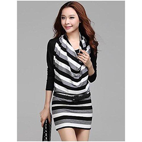ぴかぴか湿気の多い操る女性のラウンド襟ツーピーススリムボーダーニット長袖のドレス