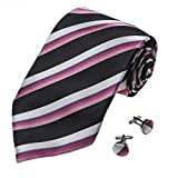 A1132 Black Stripes Online Goods Mens Pink White Buy For Working Silk Tie Cufflinks Set 2PT By Y&G