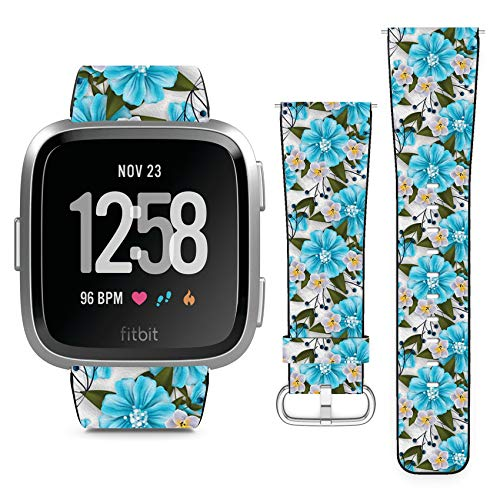 Compatible with Fitbit Versa // Leather Replacement Bracelet Strap Wristband with Quick Release Pins // Tropical Flower Blossom Cluster