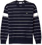Lacoste Men's Long Sleeve Heritage France Milano Crew Neck Sweater, Ah4549, Dark Navy Blue/Flour, 8