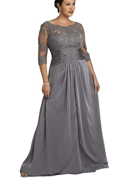 kxry Women\'s Long Grey Plus Size Mother of The Bride Dress Half Sleeve Lace  Evening Party Prom Dresses