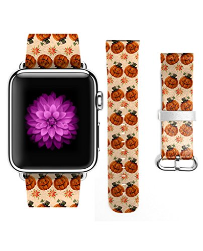 Apple Watch Band Leather 38mm Cool Halloween Pumkin (Pumpkin Cut Outs Halloween)