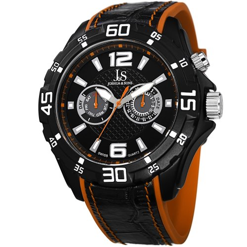 Joshua & Sons Men's JS79OR Swiss Quartz Multifunction Orange Leather & Rubber Layered Strap Watch